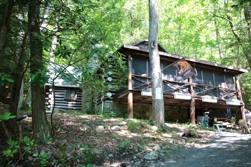 Bushkill Pristine Waterfront Log Cabin with Private Beach - Sleeps 9 in Beds